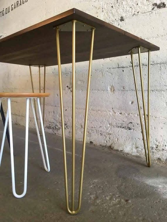 Set of 4 Hairpin Legs, golden powder coated 7/16 steel rods. YOUR CHOICE of: -6 to 29 tall; -2 or 3 rods for the 27, 28 and 29 legs. For TABLE or DESK height, RAW STEEL legs, check out: