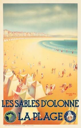 Les Sables d'Olonne, La Plage (Loire - Atlantique, France). 1932  GEORGES AROU. Vintage travel beach poster art deco #essenzadiriviera www.varaldocosmetica.it/en