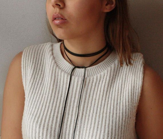 wrap necklace leather wrap chokerBoho necklace by ClassyLeather