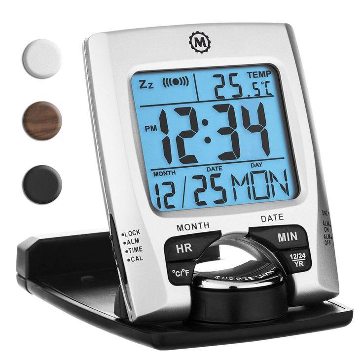 Marathon CL030023 Travel Alarm Clock with Calendar