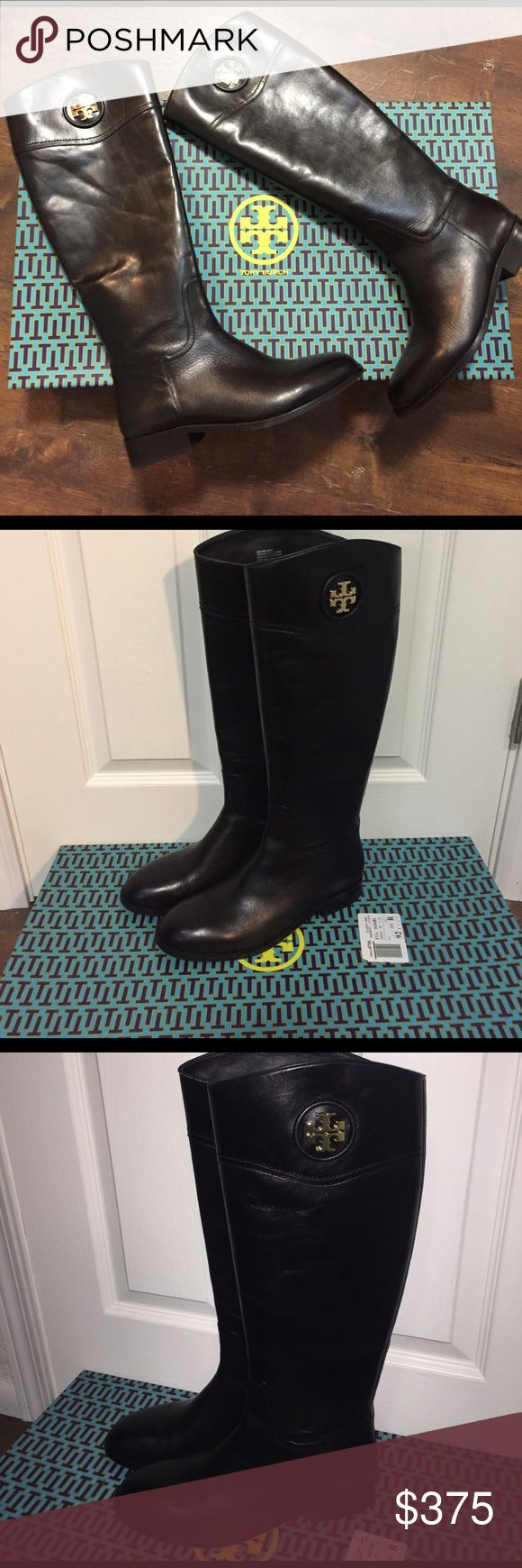 Tory Burch black riding boots-MAKE ME AN OFFER :) New in box, size 10.5 women's boots in black. Gold emblem and zipper pull. Retails for $495! Tory Burch Shoes Combat & Moto Boots
