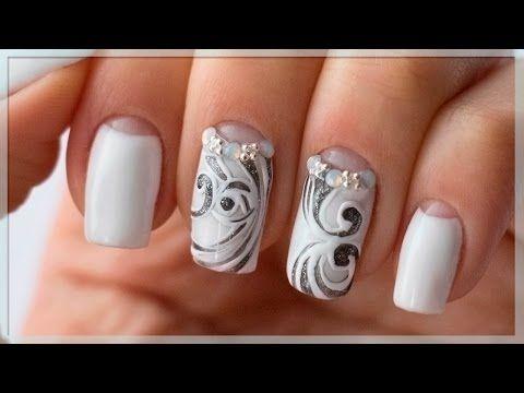 Лунный маникюр | Белые ногти | Дизайн ногтей завитки - YouTube