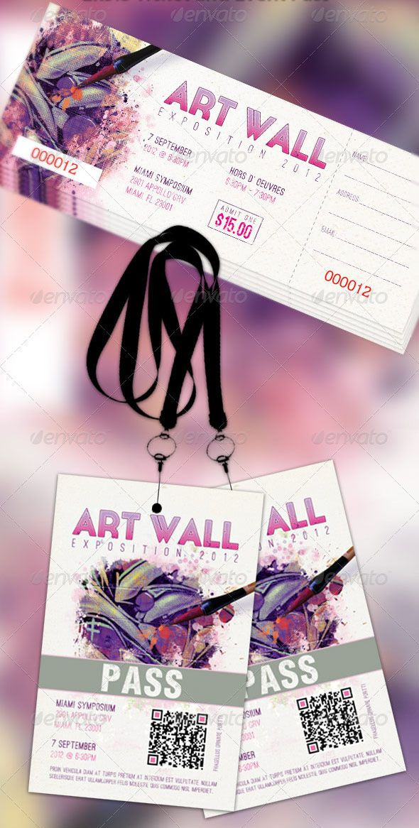 Art Expo Ticket and Event Pass Photoshop Template - $6.00