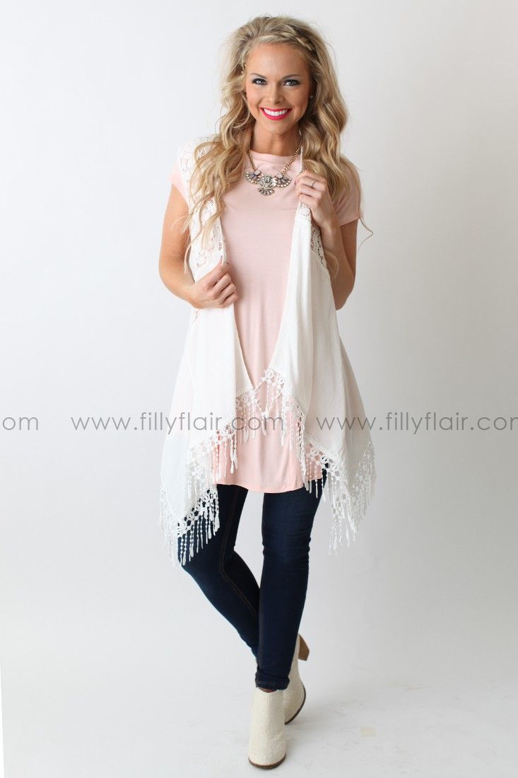"""Add this perfect layering piece to your closet for a great warm weather option. Whether you're headed to a concert or out doing errands, the crochet design, fringe accents, and texturized fabric will make this your next go to! Bust in Small 36"""" Medium 38"""" Large 40""""Waist in Small 40"""" Medium 42"""" Large 44""""Length in Small 25"""" Medium 25.5"""" Large 36"""" 80% Cotton20% PolyesterContrast:100% CottonContrast: 100% PolyesterHand Wash ColdLine DryModel is 5'7"""" and size 4 in a SmallSmall 2/4, Medium 6/8…"""