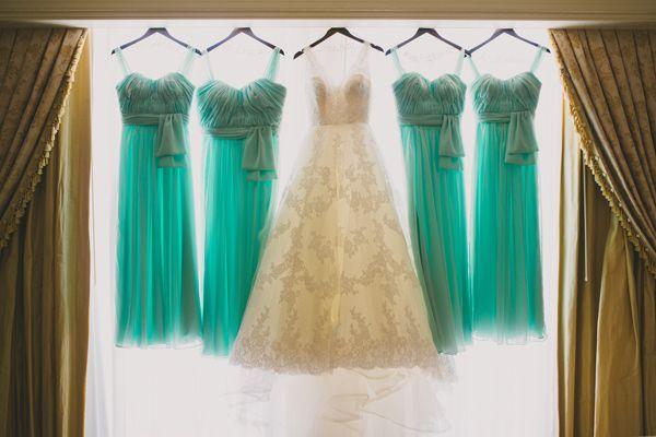 aqua bridesmaids' dresses, photo by SetFour Photographers http://ruffledblog.com/multicultural-san-diego-wedding #bridesmaidsdresses
