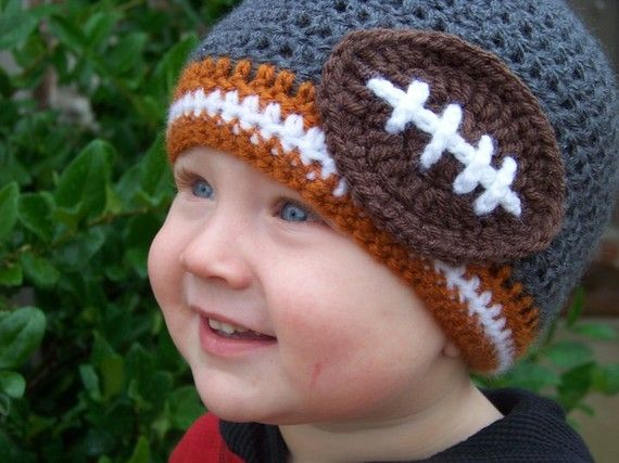 Football beanie: Babies, Colors Crochet, Football, Crochet Baby Hats, Beanie Choose, Baby Boy, Team Colors, Crochet Beanie
