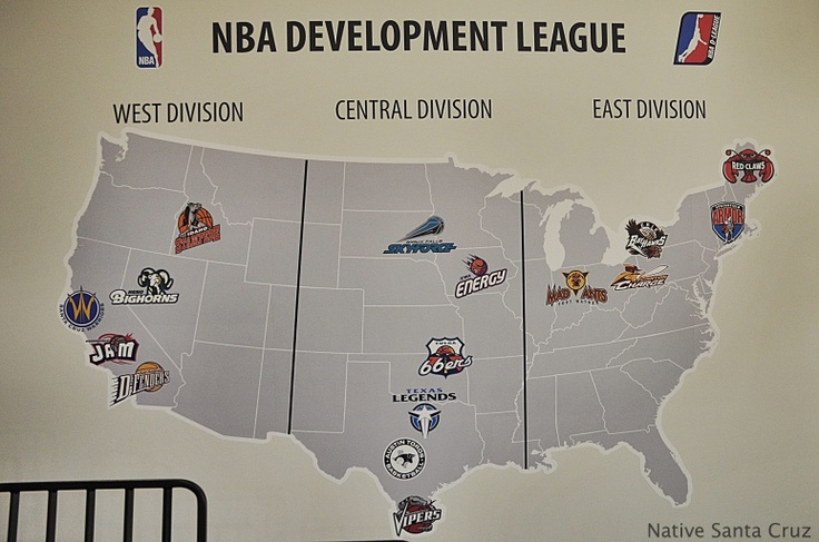 The Santa Cruz Warriors have put is on the map! This image is from inside the Kaiser Permanente Arena and shows the NBA  D-League teams.