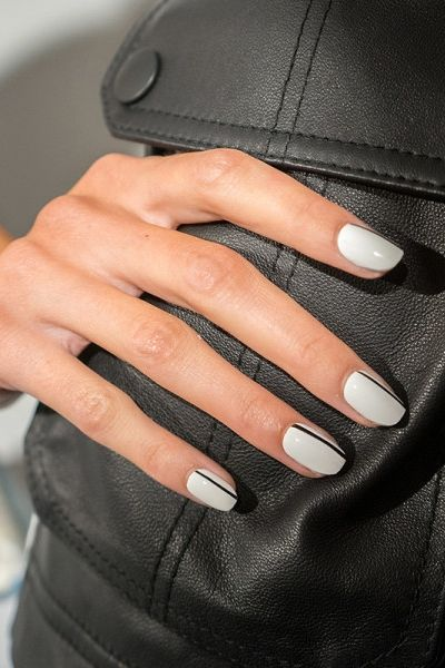 A thin black line over a light blue-grey is modern and cool for fall.