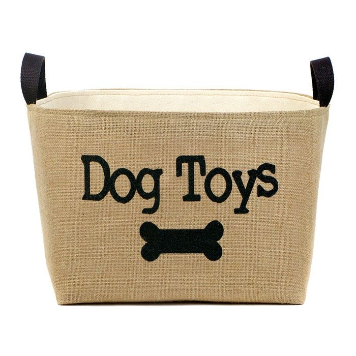 Dog Toys Burlap Storage Basket Dog Toy Storage Dog Toy Basket