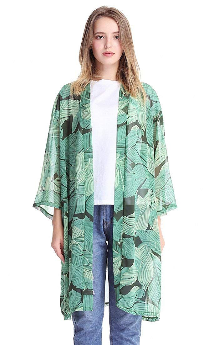 f2fc50bed0d58 MissShorthair Womens Chiffon Kimono Cardigans Long Blouse Sheer Cover Ups  at Amazon Women's Clothing store: