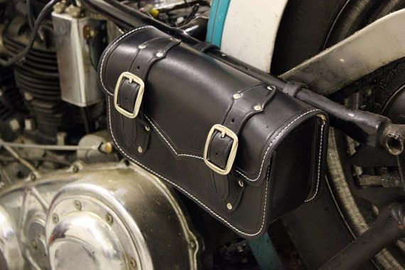 Custom black leather motorcycle tool bag / small by RobertiCustoms