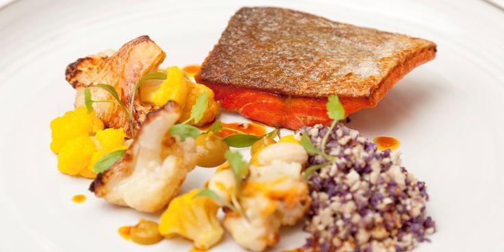 Salmon, curried cauliflower, almonds, coriander