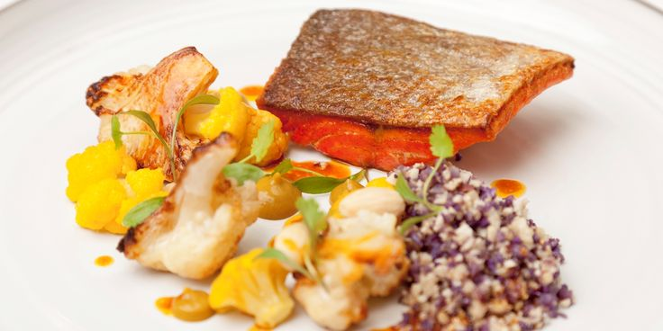 Alaska salmon, curried cauliflower, almonds, coriander