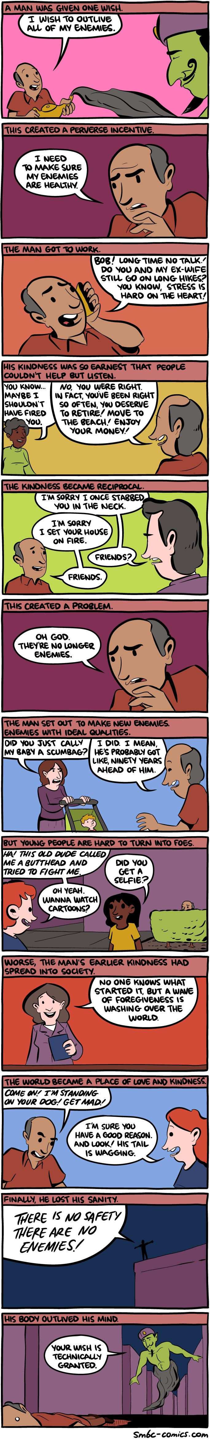 Saturday Morning Breakfast Cereal - One Wish and outliving the enemy.