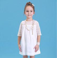 Ocasional del cordón vestido corto de la manga para las niñas blanco vestido Party Girl(China (Mainland))