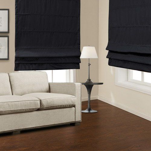 TWOPAGES, Black Polyester Insulated Blackout Roman Shade
