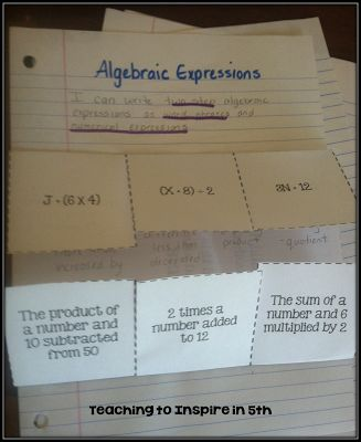 Cool foldable idea for note taking with algebraic expressions.