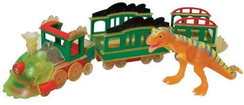Tomy International Dinosaur 3-Car Train, Glow in The Dark by Tomy International. $14.99. Compatible with all Dinosaur Train sets, cars, and figures. Exclusive Glow-in-the-Dark Engine and Train Car. Press smoke stack to see lights and hear sounds. Includes Glow-in-the-Dark Boris T-Rex collectible figure. From the Manufacturer                All Aboard to night time adventures. Inspired by Jim Henson's Dinosaur Train, take a ride on the Night Train. This glow-in-th...