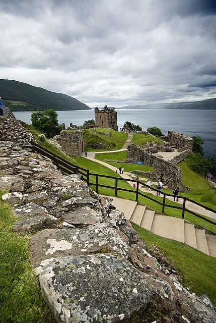 Scotland Loch Ness as seen from the southern end of Urquhart Castle on a suitably blustery day.