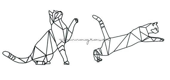 One Line Text Art Cat : Ideas about geometric cat tattoo on pinterest