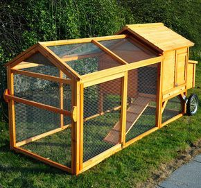 movable chicken coop on wheels | Portable Backyard Wooden Chicken Coop Hen House Tractor w/ Fenced Run ...
