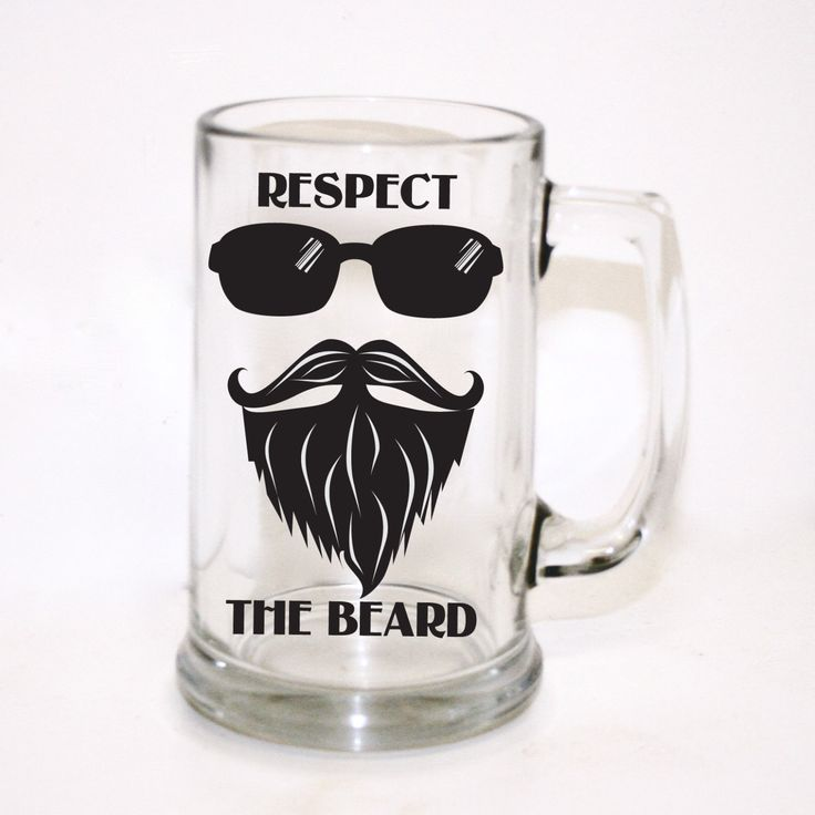 Respect the Beard Beer Mug - Men's Gift, Custom Beer Glass, Personalized Beer Glass, Groomsman Gift, Hipster Design, Gift for Him by LEVinyl on Etsy