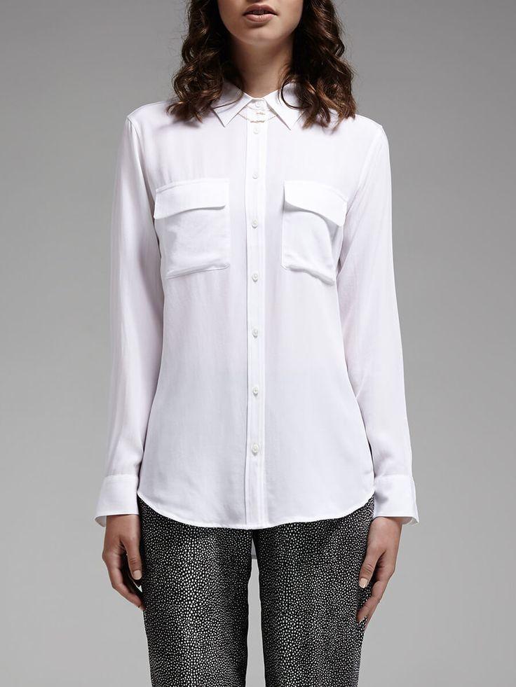 Equipment - White Slim Signature Shirt