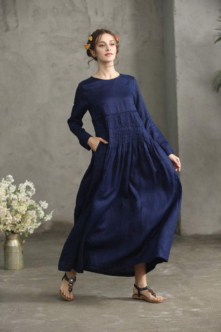 Rosa Leinenkleid. Lockeres Kleid AsymmetrischesKleid Maxi ...