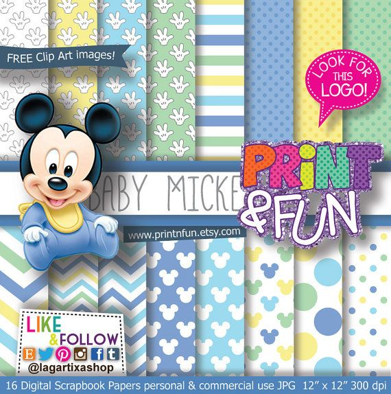 Baby MICKEY MOUSE Disney Digital Paper Patterns mint by Printnfun