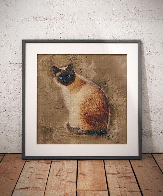 3da0bde228d5a Siamese Cat Art Print Cat Wall Art Scandinavian Home Decor Gift For ...