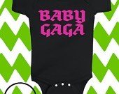 BABY GAGA funny onesie. Put your little one in a fun Lady Gaga style onesie.