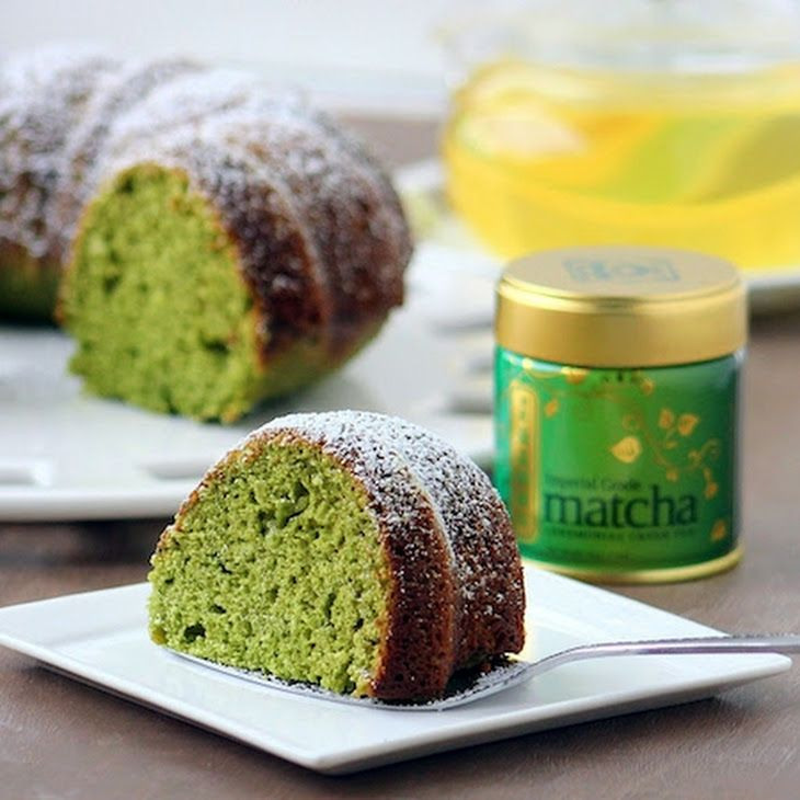 Amazing Green Tea Cake Recipe Desserts with flour, sugar, matcha green tea powder, baking powder, salt, sour cream, large eggs, olive oil, vanilla extract, almond extract