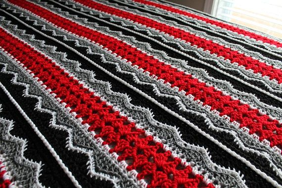 Afghan  Handmade Crochet Queen Size Blanket  by SnugableTouches, $175.00