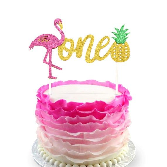 - One - with Double Sided Glitter Stock First Birthday Cake Topper Decoration 1st Moana