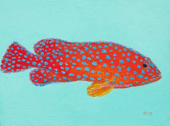 Fish painting strawberry grouper canvas art bathroom for Jans tropical fish
