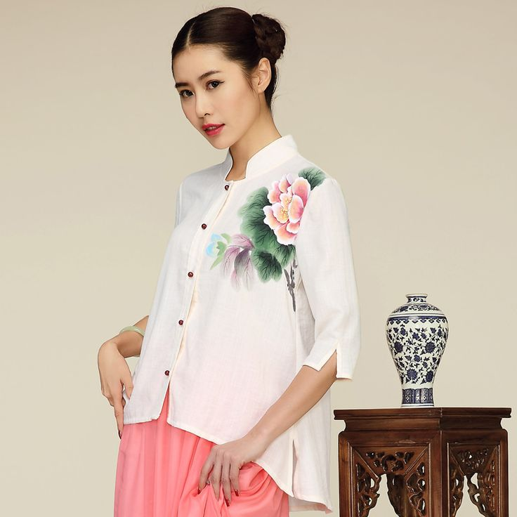 Charming Peony Flowers Print Open Neck Chinese Blouse - Chinese Shirts & Blouses - Women