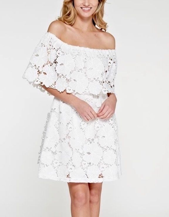 SOUTHERN GIRL FASHION Floral Embroidered Dress White Off the Shoulder Lace Mini  #Casual