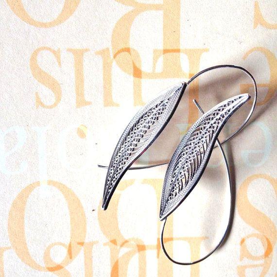 Sterling silver filigree leaf earringsfiligree by JewelsAllAround
