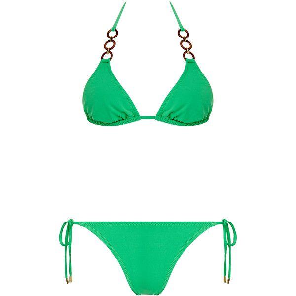 Melissa Odabash Costa Green Triangle Bikini (135 AUD) ❤ liked on Polyvore featuring swimwear, bikinis, strappy swimwear, strappy bikini, gold swimwear, chain bikini and triangle bikini