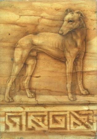 Kunst / Art - Greyhound - airbrush technique on sandstone