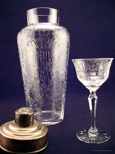 Antique Etched Crystal Cocktail Shaker & Cordial Glass. Carson's tools of the trade.