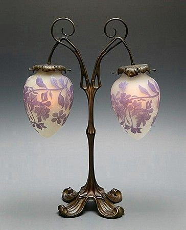 Cameo glass table lamp by Emile