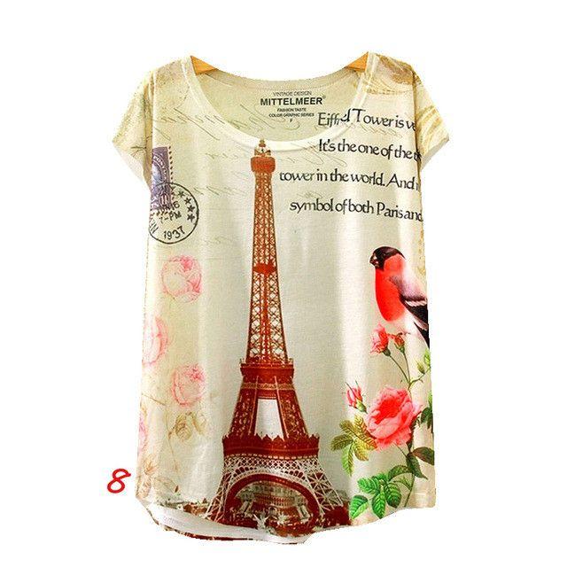 Summer Style Women Crew Neck Short Sleeve T-Shirts Animal Print Tees Feminino TQ