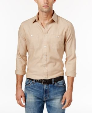 Tommy Hilfiger Men's Marsh Herringbone Shirt  - Tan/Beige L