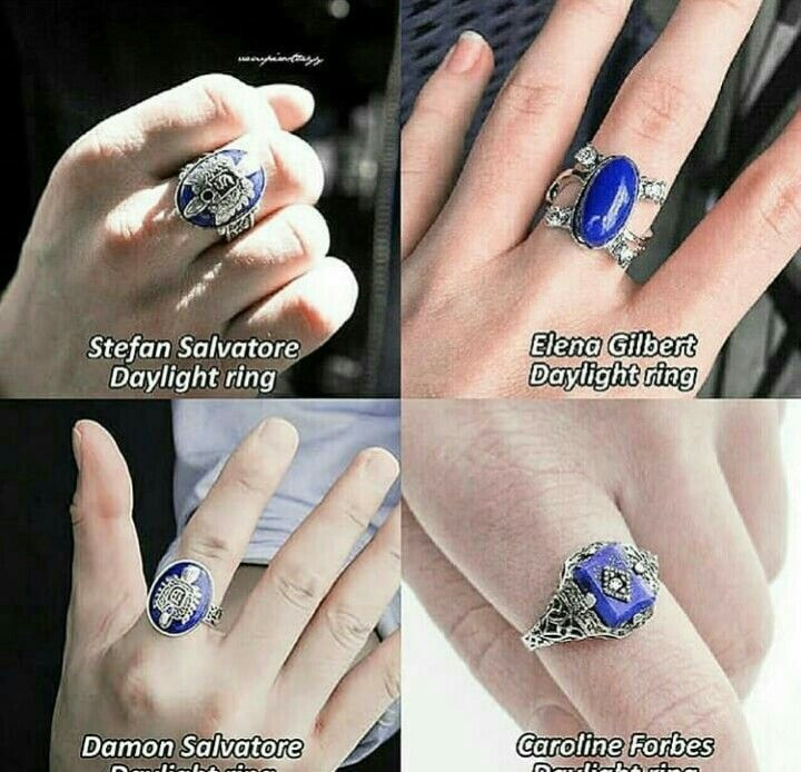 The Vampire Diaries Elena Caroline Damon Stefan Mikaelson Rings