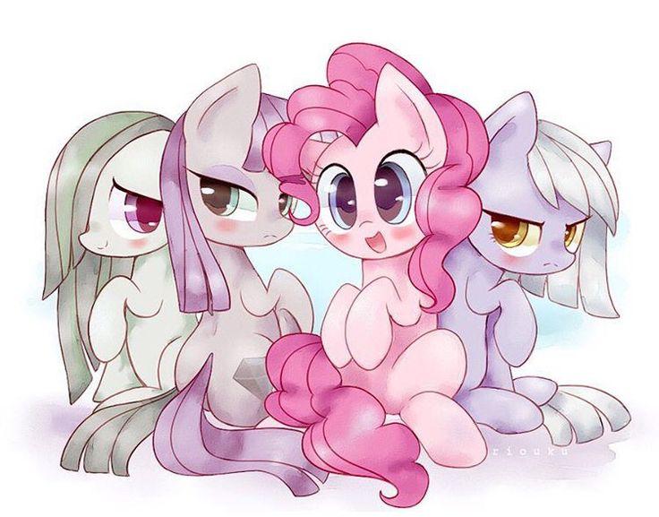 Marble Pie, Maud Pie, Pinkie Pie, and Limestone Pie sisters