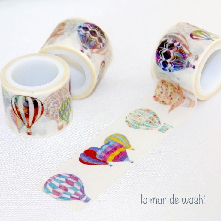 Washi Tape globos aerostáticos colores