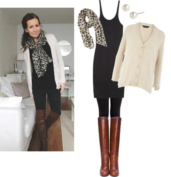 Easy outfit. Black tank dress, cardi, scarf, leggings, boots.