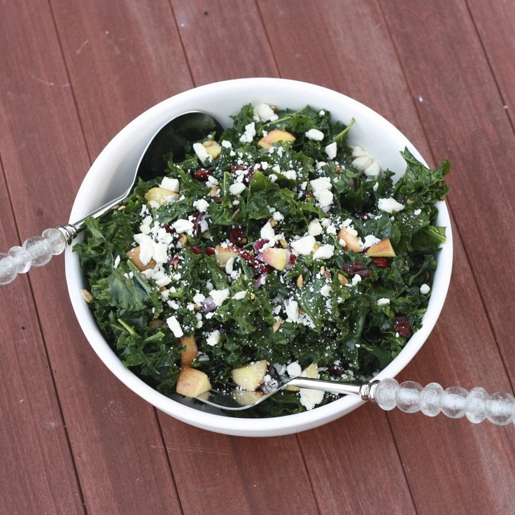 Kale Salad with Apples, Craisins, and Feta