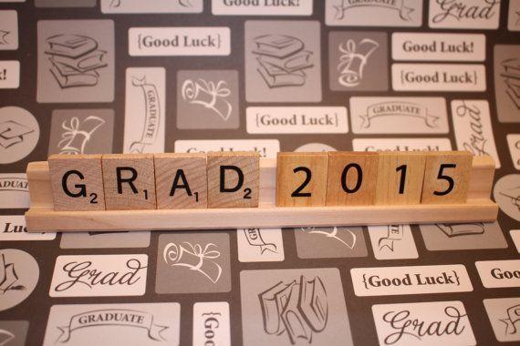 Grad 2015 (Customize year), Graduation Decor, Graduation Party, Scrabble Decor, Congratulations, Senior, Class Of, Graduation Gift, Hats off